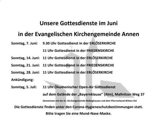 Unsere Gottesdienste im Juni